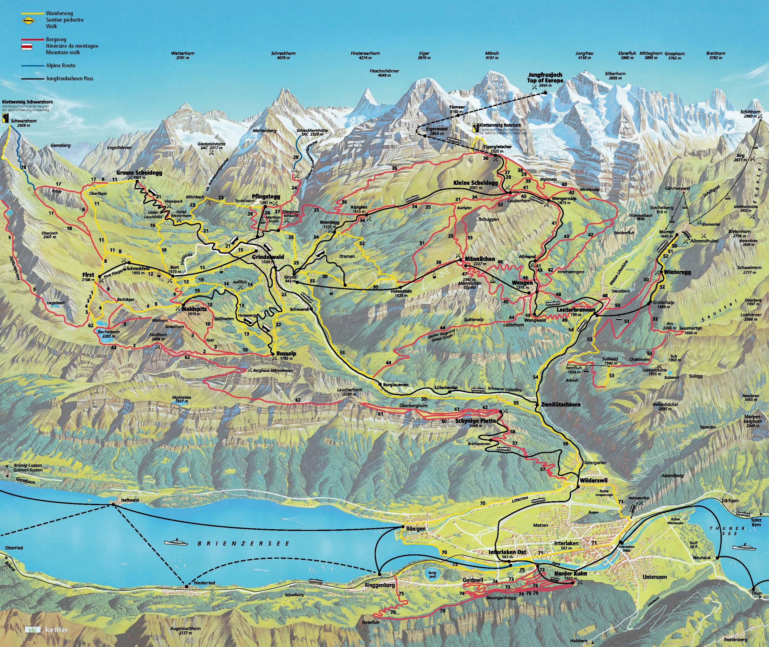 Jungfrau Region Wanderkarte