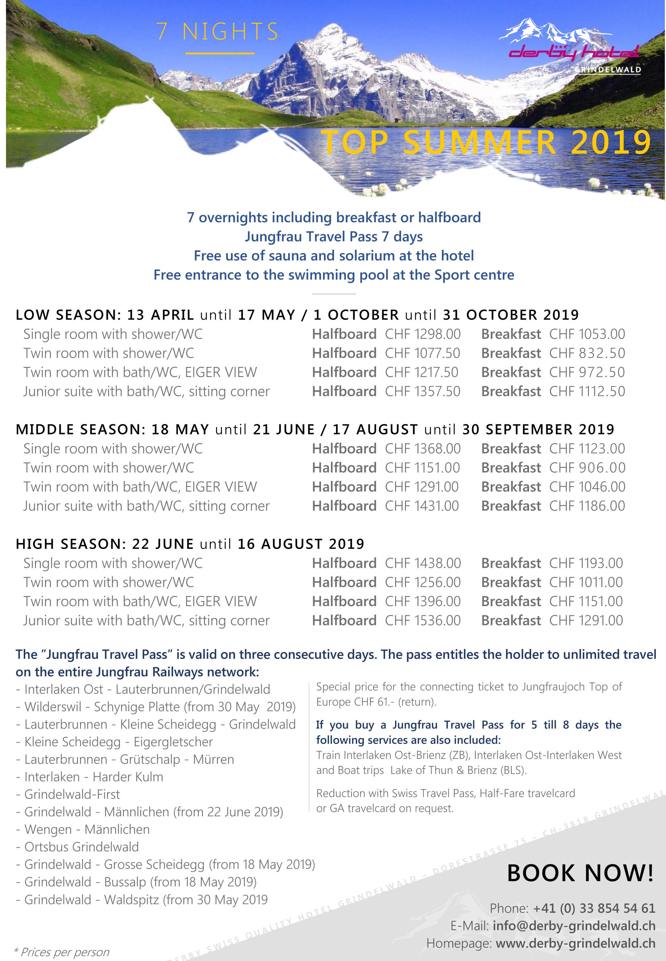 Derby Hotel Grindelwald Package Offre Top Sommer 2019